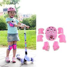 7Pcs Kids Roller Skating Bicycle Helmet Knee Wrist Guard Elbow Pad Pink S
