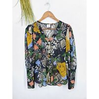 Cabi Snake Charmer Blouse Long Sleeve Button Up Shirt Womens Small