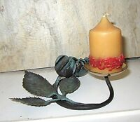 R/IfE037 robert rank nostalgischer kerzenleuchter mit rose vintage handmade