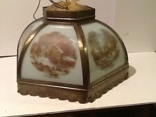 Currier & Ives Scenic Lamp Shade barn, old homestead, winter, farmers home