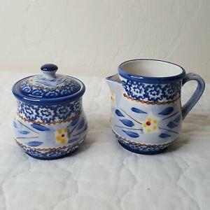 Temptations OLD WORLD BLUE Creamer Sugar Bowl with Lid Set