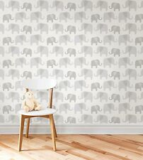 NIB Nuwallpaper Elephant Parade Peel & Stick Vinyl wallpaper Gray Nursery Kids