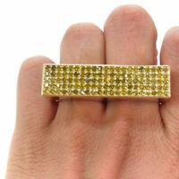 2.50 Ct Men's Round Yellow Diamond Double Finger Bar Ring 14K Yellow Gold Finish