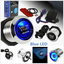 Keyless Car Engine Start Push Button Switch Ignition Starter Touch Kit Blue LED