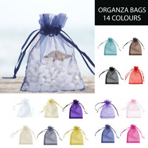 0-100 Pcs 5 Sizes Organza Bag Sheer Bags Jewellery Wedding Candy Packaging Gift