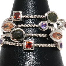 Sparkling Multi-color Topaz Ring Women Anniversary Jewelry 14K White Gold Plated