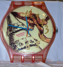 HUGE VINTAGE SWISS MADE PINK SWATCH WALL CLOCK PERFECT CONDITION GWO c1992
