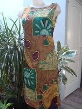 COCO D' OGGI  robe debardeur imprimée vIscose vert jaune beige Taille 36