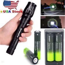 SkyWolfEye Tactical T6 LED Flashlight 30000LM Light+4x 18650 Battery +Charger i