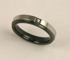 Unisex 316L Black Stainless Steel CZ Comfort Fit Ring 4mm Band Size 8 NEW SS148