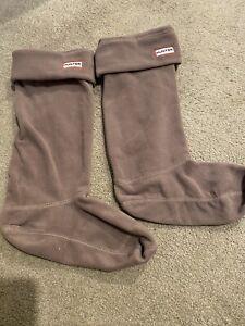 Hunter Womens Original Tall Fleece Welly Boot Socks Gray