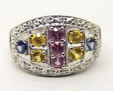 14K White Gold Samuel Benham Ring Sz 9 Diamond Pink Yellow Blue Topaz Estate BJC