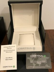 New! Certina Watch Presentation Box New Black with Card, Book