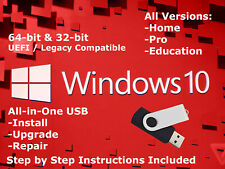 Windows 10 USB Install (All Versions, 64 & 32bit, UEFI / Legacy compatible)