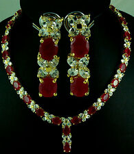 FASHION JEWELRY GEM 14K YELLOW GOLD RED RUBY SAPPHIRE NECKLACE + EARRINGS Q10