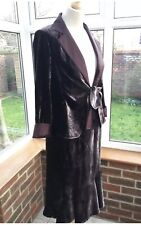 Gerard Darel  Vintage Grape Crashed Velvet Jacket And Skirt Suit Size EU38 UK 10