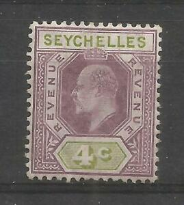 SEYCHELLES 1906 Revenue 4c, mounted mint with gum, gum bend, barefoot 18