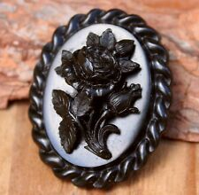 Carved Jet Brooch Antique Victorian Mourning Pin Vintage Jewellery Jewelry
