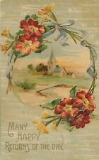 BIRTHDAY – Flowers, Bows and Country Scene - 1909