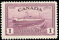 1946 Mint H Canada F+ Scott #273 $1.00 Train Ferry Issue Stamp