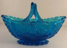 Antique Davidson Glass Chippendale Blue Handled Basket