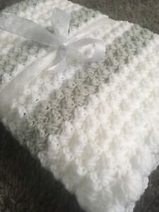 Hand Knitted Crochet Baby Blanket New White And Grey