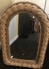 Vintage Wicker Rattan Wall Mirror Basketweave Quality Well Made 29