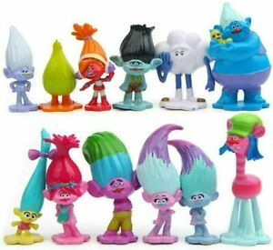 12 Pcs/set Movie The Good Luck Troll Elves Figures Cake Toppers Doll Toy Gifts