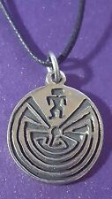 Turtle Island,  Labyrinth Pendant - Necklace (Native American) Man in Maze    g2