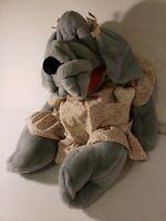 "GANZ Wrinkles Blue Vtg 1981 Hand PuppetLarge 28""Plush Girl Dog w/ Dress & Bone"