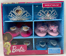 Barbie Shoe and Tiara Dress Up Set Includes 2 Crowns & 4 Pairs of Shoes for Play