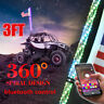 3FT bluetooth Control RGB LED Lighted Spiral Whip w/ Flag For ATV UTV RZR Truck