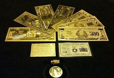 NEW AMAZING>11Pc.LOT~.999-FINE.GOLD 1BILLION-$500 BANKNOTES REP.*+COIN/FLAKE&BAR