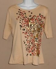 Women's Size M - Short Sleeve Brown with Tiger Knit Shirt Top