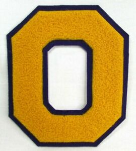 Vintage 1980's Letter O Chenille Varsity Jacket Patch Yellow Gold with Purple