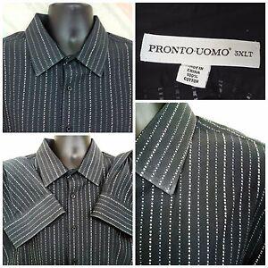 Men's Pronto Uomo 3XLT Cotton L/S Black Stripes     G38