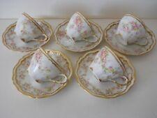 10 Pc. Antique Haviland Limoges Demitasse Cups & Saucers-Double Gold Pink Rose