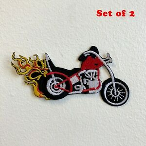 Chopper Bike with Fire Iron on Sew on Embroidered Patch Set of 2