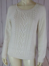 Talbots Petites Sweater M Natural Beige Viscose Cotton Nylon Angora Stretch CHIC