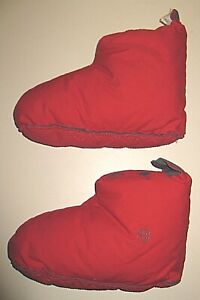RESTORATION HARDWARE RED GRAY DOWN COTTON DUVET BOOTIES SLIPPERS WOMEN MEN 8-12