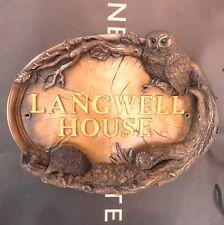 OWL & HEDGEHOG HOUSE NAME PLAQUE SIGN  FIGURE EXTERIOR ART WALL SCULPTURE