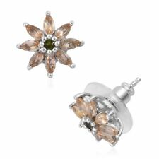 Imperial Topaz Russian Diopside Platinum Over Sterling Silver Stud Earrings NEW