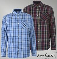 Mens Branded Pierre Cardin Casual Button Top Large Check Long Sleeve Shirt S-XXL