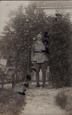 WW1 Officer Cameron Highlanders Interned as a POW in Germany in camp garden