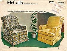1950's VTG McCall's Slip Cover For English Lounge Chair Pattern 1973 UNCUT