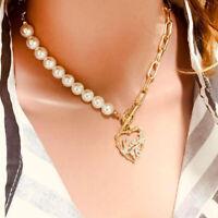 Fashion Women Statement Pearl Heart Pendant  Chain Choker Necklace Charm Jewelry