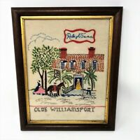 "1998 Bucilla Kit ""Olde Williamsport Raleigh Tavern"" Finished Crewel Embroidery"