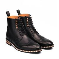 Mens Bespoke Vintage Boots Handmade Brogue Studs Party Casual Calf Leather Shoes