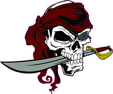SKULL PIRATE with Patch and Nife Bumper Sticker #128