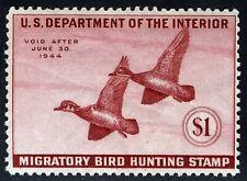 Us Sc Rw10 Deep Rose $1.00 Mnh Original Gum 1943 Hunting Permit Stamp